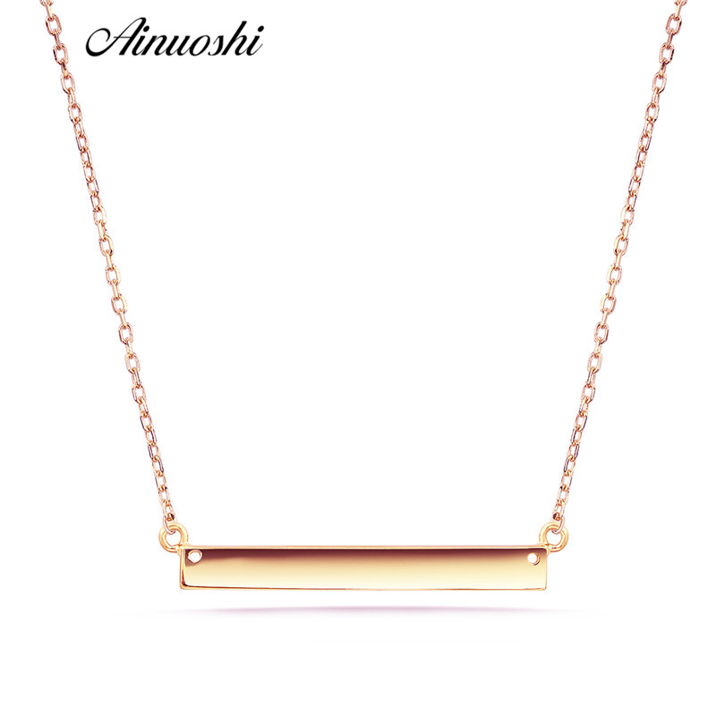 AINUOSHI 18K Gold Necklace Brushed Smooth Finish Square Bar Clavicle Necklace Women Simple Fine Diy Pendant Necklaces Link Chain