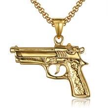 В стиле «хип хоп» рок Золотой пистолет Для мужчин Подвески Цепочки