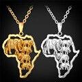 Afrcia Africana Joyería Multi Elefante Colgante de Collar Para Los Hombres de Las Mujeres de La Vendimia Colgante Con Cadena Rolo Al Por Mayor P192