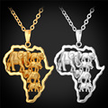 Afrcia Jewelry Multi Elephant Pendant Necklace For Men Women Vintage African Pendant With Rolo Chain Wholesale  P192