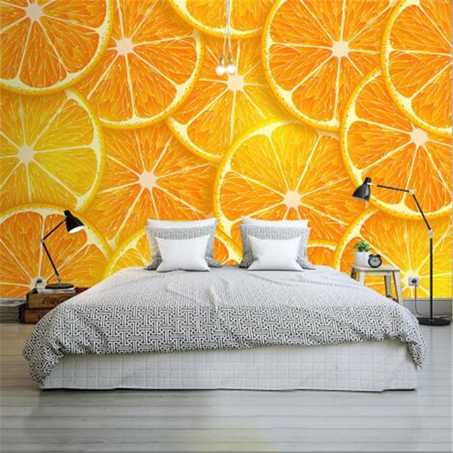 Modern 3D Wall Paper For Walls Orange Non Woven Wallpapers Lemon Slice Mural Bedroom Living