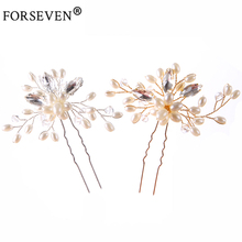 FORSEVEN 1pc Pearl Crystal Hair Jewelry Hair Sticks Gold*Silver Women Rhinestones Wedding Hairpins For Bride Hair Accessories