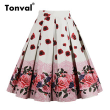 Tonval High Waist Floral Pleated Skirts Womens Summer Red Rose Flower Women Vintage Skirt Midi Plus Size 4XL Skirts
