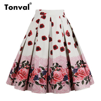 Tonval High Waist Floral Pleated Skirts Womens Summer Red Rose Flower Women Vintage Skirt Midi Plus Size 4XL Skirts Юбка