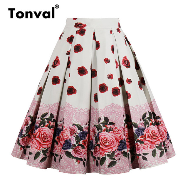 f7e83ccc0618 Tonval High Waist Floral Pleated Skirts Womens Summer Red Rose Flower Women  Vintage Skirt Midi Plus Size 4XL Skirts