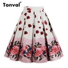 Tonval Hoge Taille Bloemen Geplooide Rokken Womens Zomer Rood Rose Bloem Vrouwen Vintage Rok Midi Plus Size 4XL Rokken