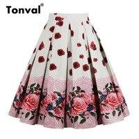 4c6cc74af83634 Tonval High Waist Floral Pleated Skirts Womens Summer Red Rose Flower Women  Vintage Skirt Midi Plus