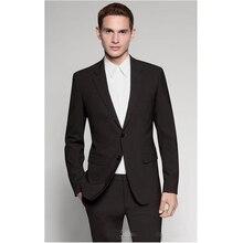 Custom Made Measure Slim Fit Two Buttons Men Tuxedo Bespoke Tailored Notch Label Groom Wedding Tuxedos For Men(Jacket+Pants )