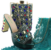 Последние обуви в африканском стиле и сумка итальянского в Для женщин зеленый цвет обуви и в нигерийском стиле Вечерние преследование набо