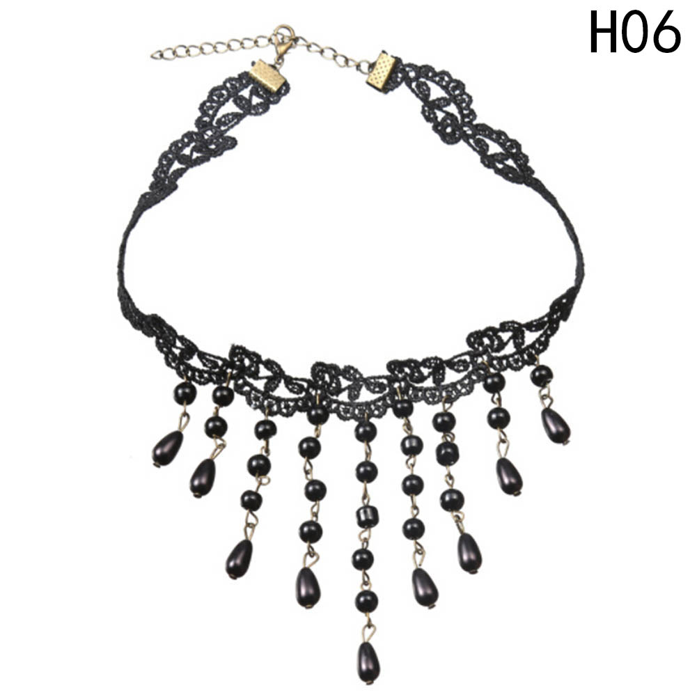 Women Vintage Lace Choker Beads Tassel Braided Cute Chain Collar Necklace