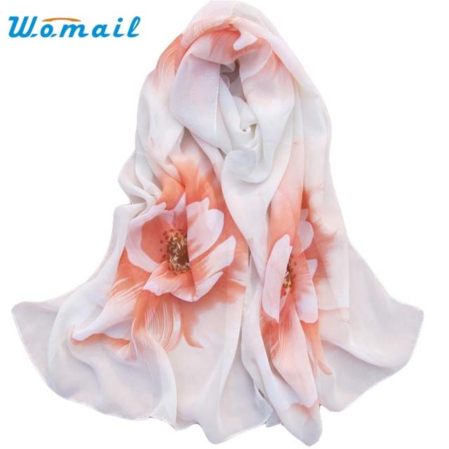 Womail Good Deal Fashion Good Quality New Women Lady Soft Thin Chiffon Scarf Flower printed Scarves Wrap Shawl Gift 1PC*3