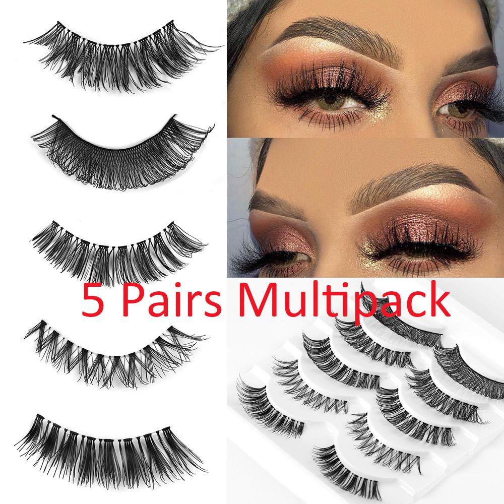 5 Pairs Multipack False Eyelashes Wispy Cross Long Lashes Natural Fake Eyelashes Makeup Extension Tools Different Style