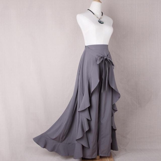 2019 Wrap Skirts Women Casual Fashion Navy Chiffon Tie-Waist Ruffle Wide Leg Loose Pants