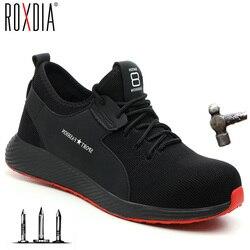 Roxdia marca plus tamanho 36-46 aço toecap homens mulheres trabalho & botas de segurança moda tênis leves sapatos masculinos casuais rxm124