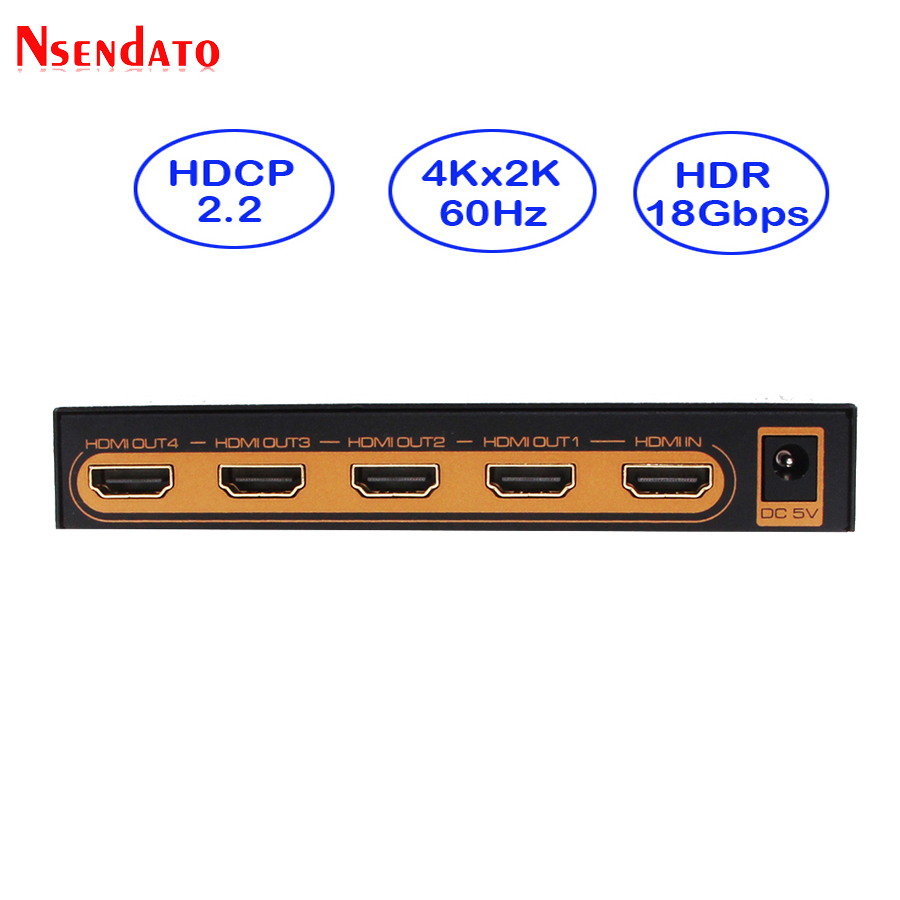 4k HDMI Splitter 1X4 4Kx2K 60Hz 1 In 4 Out HDMI Switch Converter with Power adapter