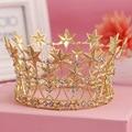 Moda Banhado A Ouro Crystal Clear Tiara Crown Headband Lucky Star Cabelo Festa de Casamento Acessórios Para Cabelo Nupcial Jóias