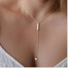 New Casual Fashion Metal Chain Bar Circle Lariat Triangle Punk Sexy Necklace stylish cut out triangle lariat necklace