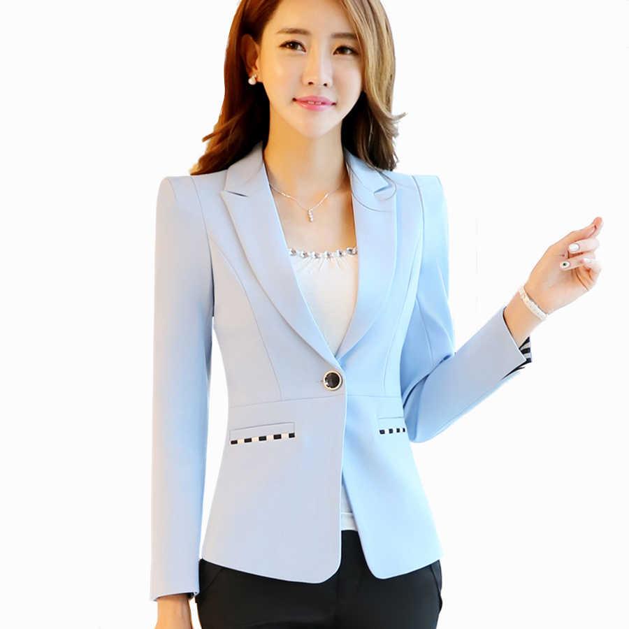 a577bcee1 Elegant Ladies Blazers Designs Office Blue Korean Slim Plus Size ...