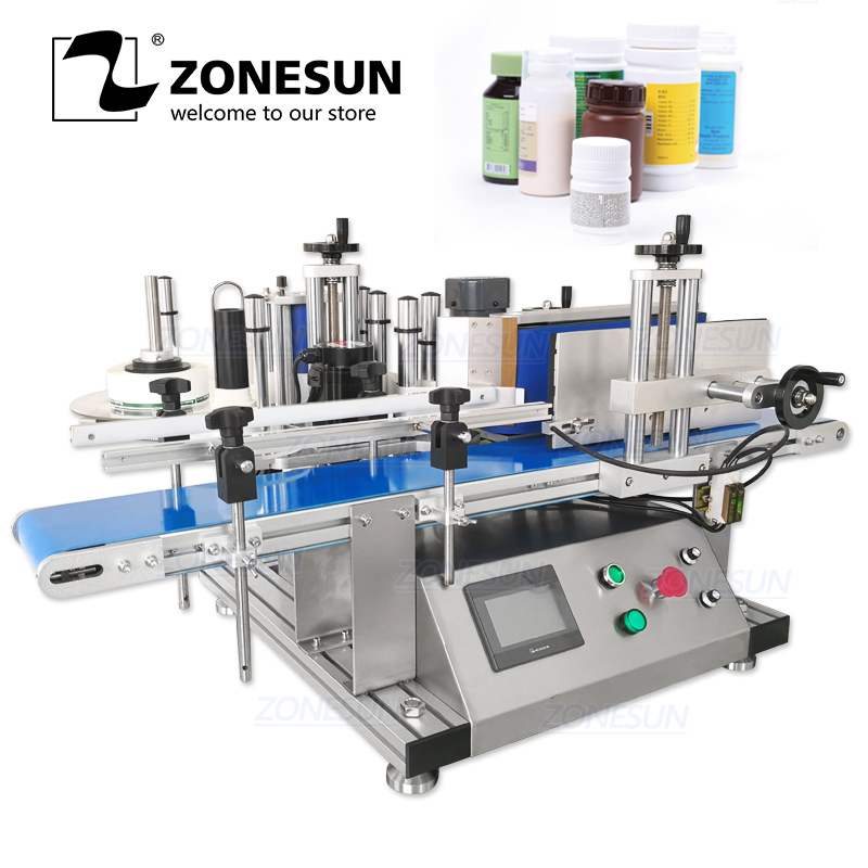 ZONESUN Full Automatic Round Bottle Labeling Machine Deskatop Type Labeller For Food Fruit Can Plastic Wine Bottle Labeling