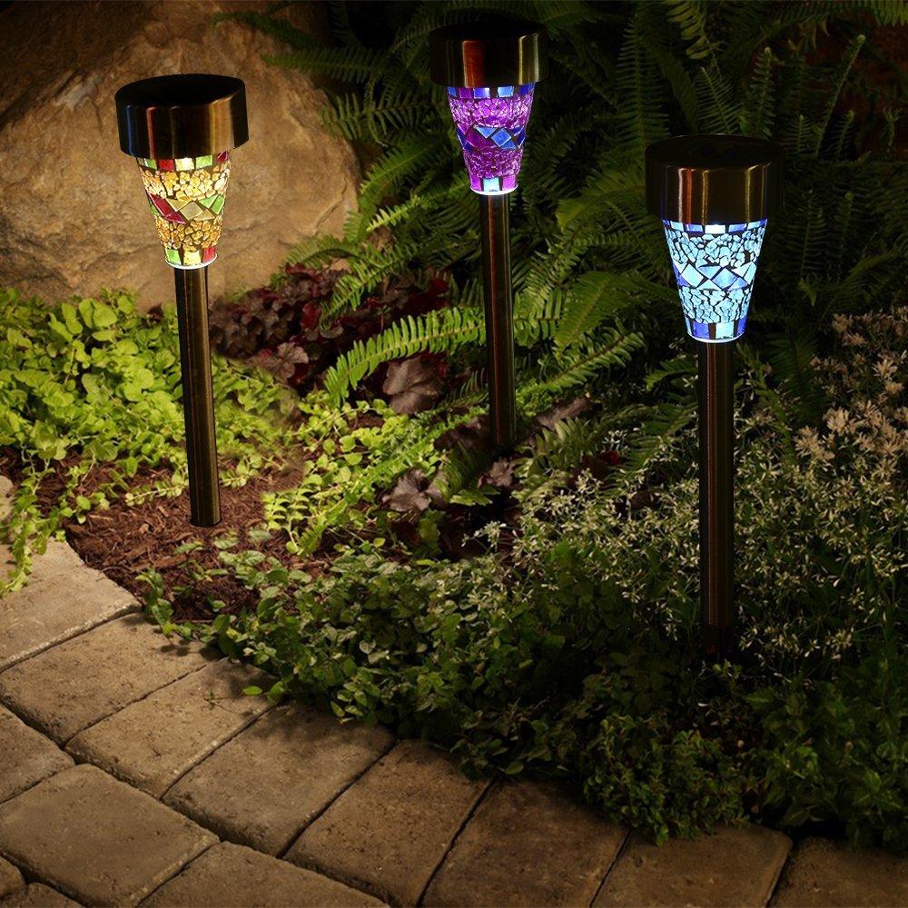 6pcs/3pcs/lot Solar Garden Light Solar Led Garden Mosaic Lights ...