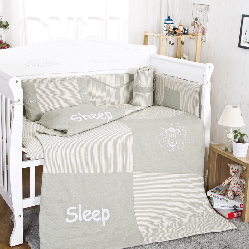 10Pcs Cotton Baby Cot Bedding Set Newborn Cartoon sheep Crib Bedding Quilt Pillow Bumpers Sheet Cot Bed Linen 120*60cm