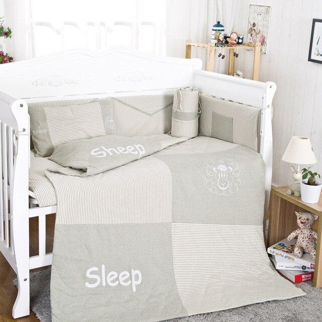 10Pcs Cotton Baby Cot Bedding Set Newborn Cartoon sheep Crib Bedding Quilt Pillow Bumpers Sheet Cot Bed Linen 120*60cm