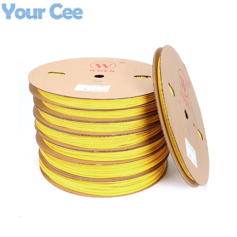 A Roll 100m 2:1 Sleeving Hot Heat Cable Protection Heatshrink Tubing Heat Shrink Tube Yellow 5-10mm