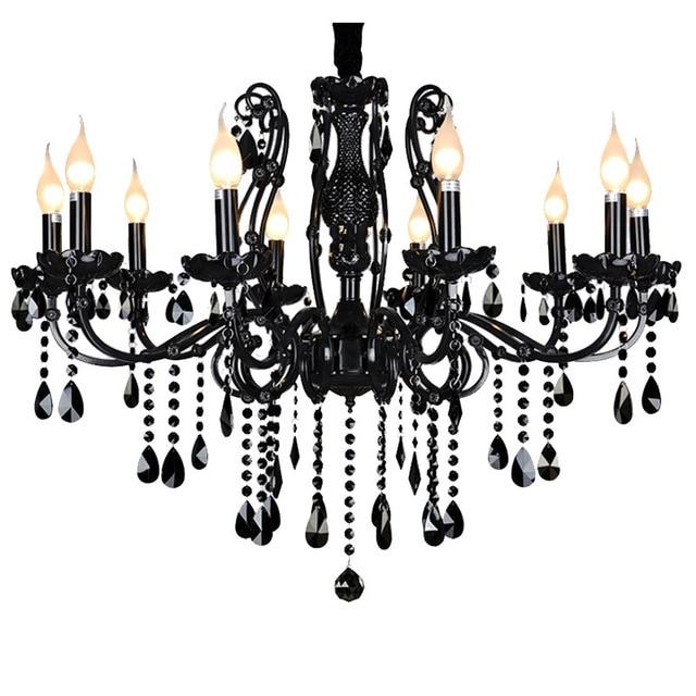 Luxury Black Crystal Chandeliers Diamond K9 Crystal Candle Chandeliers Lamp Top Black Iluminacion Industrial Lighting Lustre