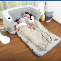 Inflatable Sofa Bed with Two Pillows& Cushion Home Flocking+PVC Sofa for Two People Indoors Lazy Inflatable Loungers