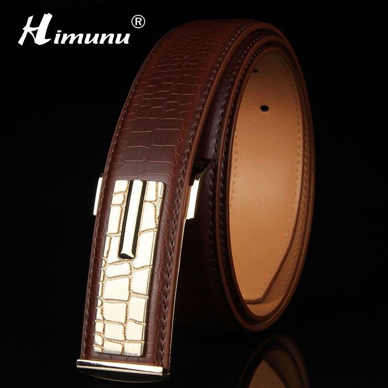 [HIMUNU] Newest 100% Genuine leather Men's   Belt   Store Crocodile grain   belt   Luxury Design alloy metal buckle Business Men   belt