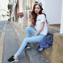 Модные тенденции новый Высокий талии контракт джинсы стрейч ноги женщины развивать нравственность показать тонкие брюки карандаш