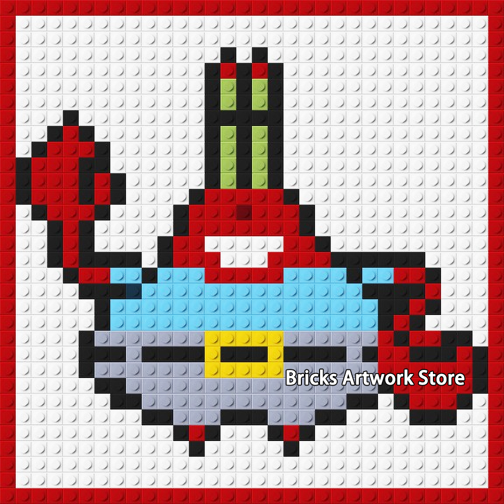 Us 1599 3232 Plate Pixel Art Mosaic Painting Set Diy Cartoon Figures Mr Krab Sponge Portrait Bob Building Blocks Creative Gift Bedroom In Blocks