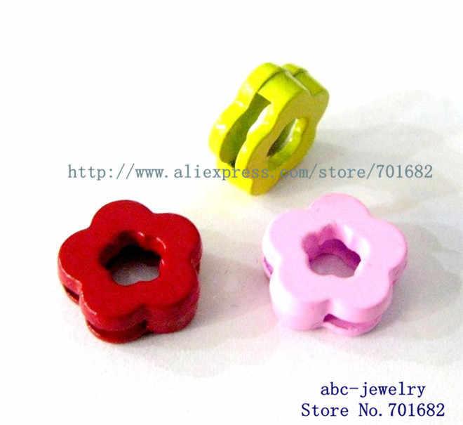 Atacado 10 pcs pintura simples flor encantos de slides Interno Dia.: 8mm ajuste 8mm banda cinto de animal de estimação colar chaveiro