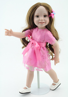 long hair Bebe 45 cm full silicone baby reborn dolls babies kids girls dolls Kits 18 inches hard Vinyl pink bonecas poppen