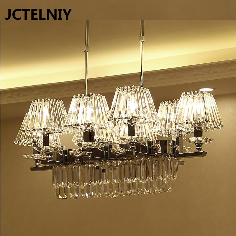 Crystal chandelier LED long modern crystal restaurant chandelier hotel bar dining room new Chinese designer lamp
