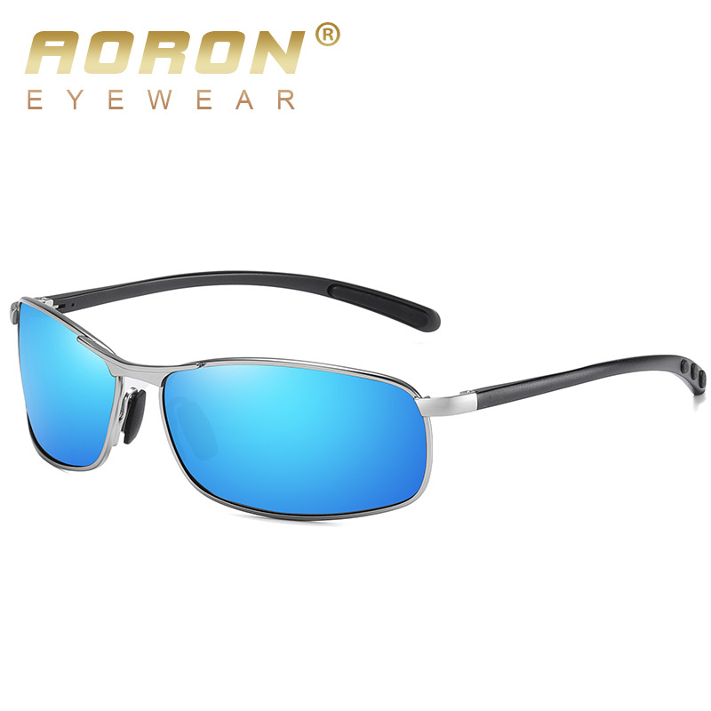 AORON Mens Polarized Sunglasses Men Classic Rectangle Sun Glasses Aluminum Leg UV400 Sunglasses Mirror Eyewear 2