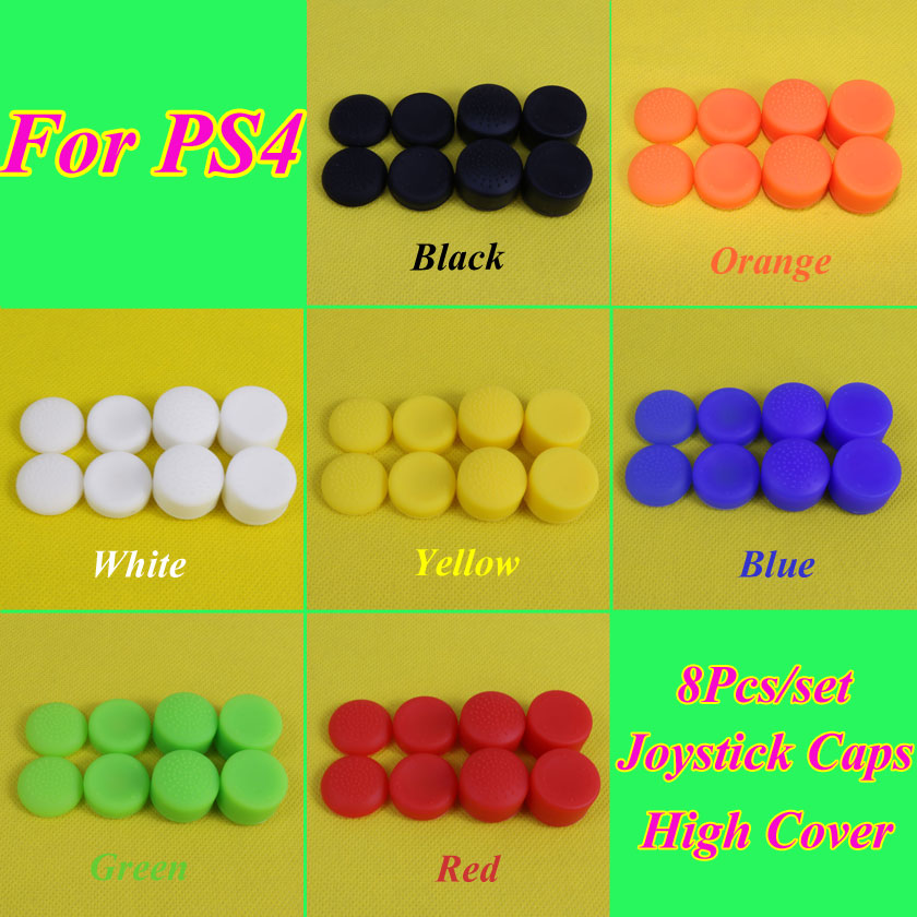 8pcs/Set Enhanced Analog ThumbStick Joystick Grips Extra High Enhancements Cover Caps For Sony Play Station PS4 Game Controller