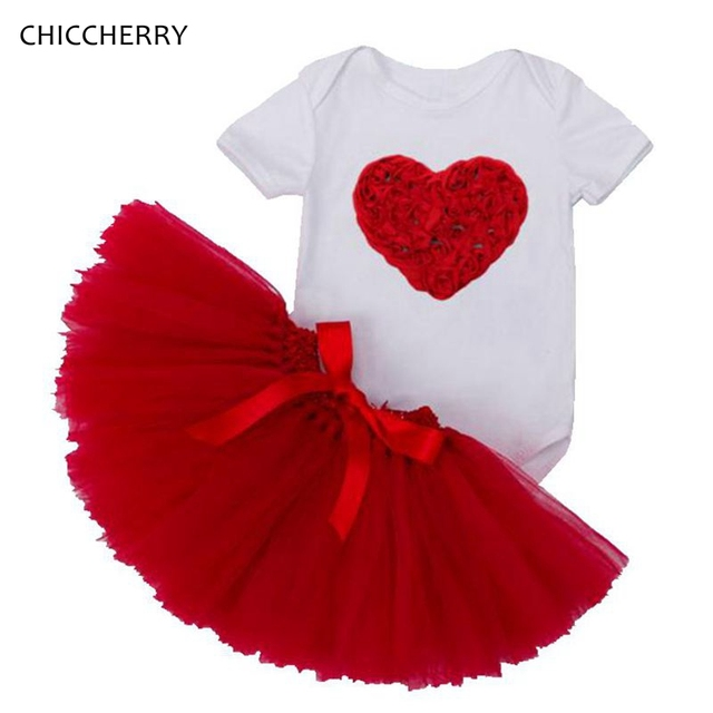 Red Rose Gifts Valentine Toddler Outfits Infant Bodysuit + Lace Tutu Skirt  Set Robe Bebe Fille