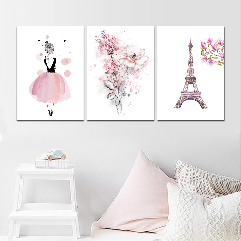 Unframed HD 3 Poster Simple Simple Pink Girl Series Art Painting Living Room Mural Rose Tower Decoration Canvas Painting