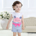 Summer baby girls clothing sets,printed rabbit sleeveless tops + plaid pants kids clothes,0-3 yrs children casual wear