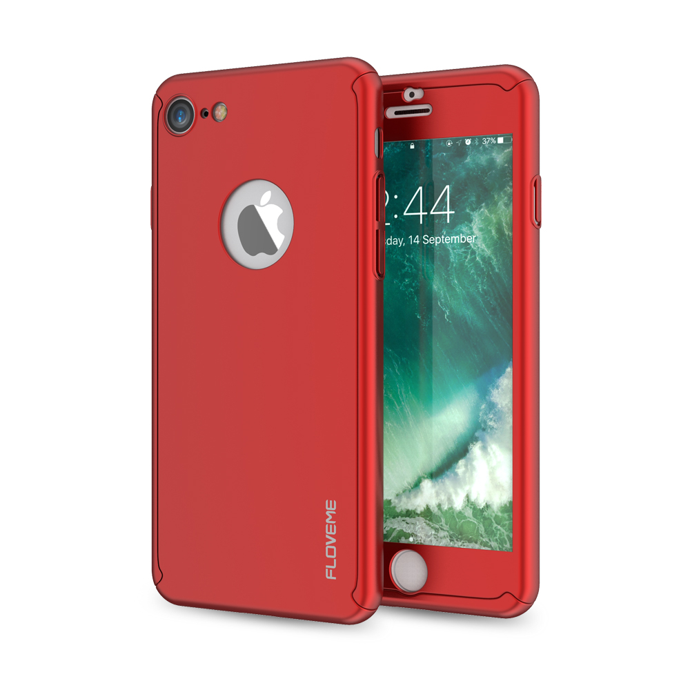 FLOVEME 360 Coverage Case For iPhone 8 7 6 6S Plus 5 5S PC Frame Front Back Cover Protective Tempered Glass Logo Shells Capinhas