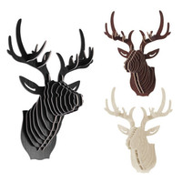 NEW deer Head 3D Puzzle Wooden DIY Model Wall Hanging deer Head elk wood gifts craft Home decoration Animal Wildlife