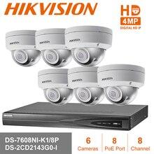 Hik 8CH POE NVR DS-7608NI-E2/8 P 6 шт 4MP DS-2CD2143G0-I видеонаблюдения Системы купольная Открытый IP Камера набор для наблюдения