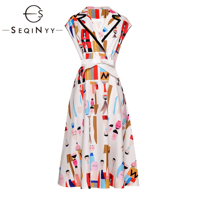 SEQINYY Cartoon Printed Dress 2019 Summer New Fashion Design Short Sleeve Colorful Notched Office Lady A