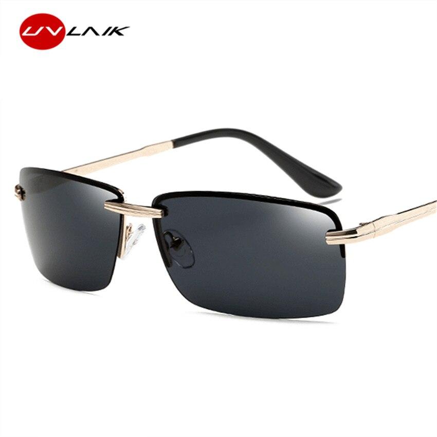 UVLAIK HD polarizada gafas de sol hombres sin marco gafas de sol de ...
