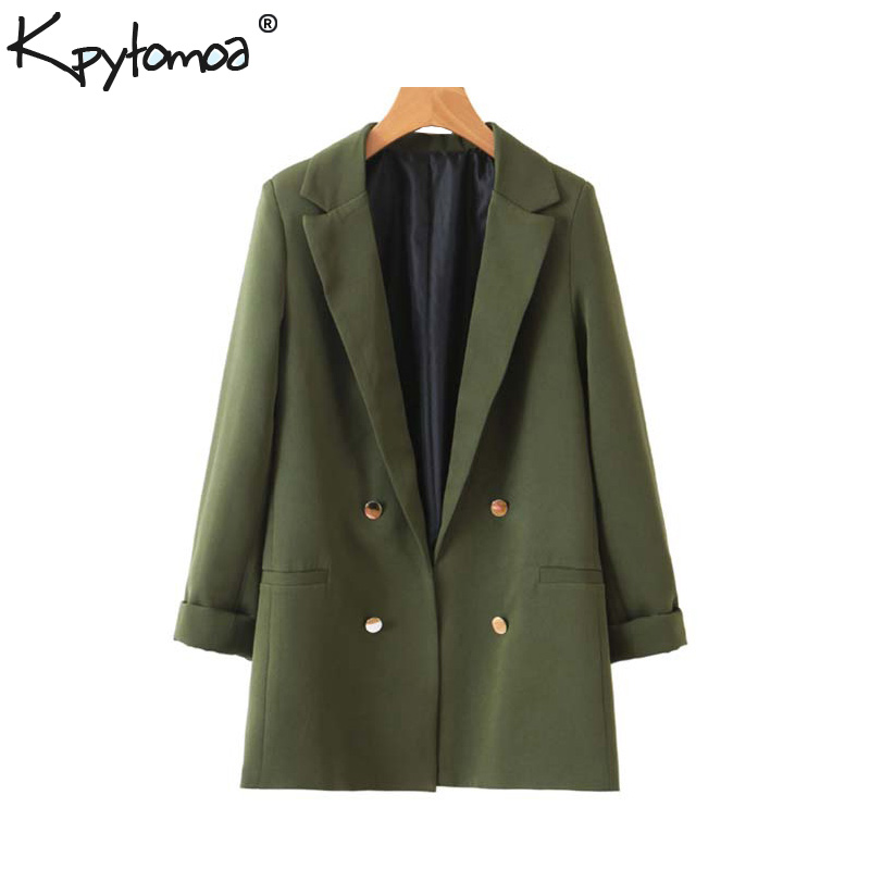 Vintage Stylish Buttons Office Lady Blazers Coat Women 2020 Fashion Three Quarter Sleeve Pockets Outerwear Casual Casaco Femme