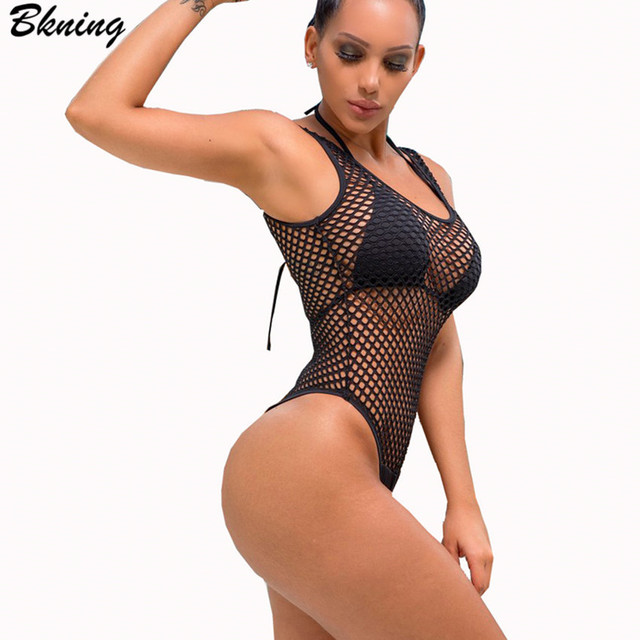 89db145fe45 Bkning Mesh Swimwear One Piece Swimsuit Thong Swimming Suit Female Beach  Bathing Suits 2018 Summer High Leg Cut Monokini 2Pc Set