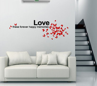 New arrival romantic design acrylic house 3d stickers solid crystal wall stick love theme