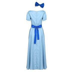 Image 5 - Robe Wendy pour femme, Costume de Cosplay dhalloween, col bateau, manches bouffantes courtes, pour les fêtes de princesses, Maxi chic, avec couvre chef et ceinture