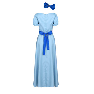 Image 5 - Women Halloween Cosplay Costume Wendy Dress Boat Neck Short Puff Sleeves Princess Party Fancy Maxi Dress with Headwear and Belt